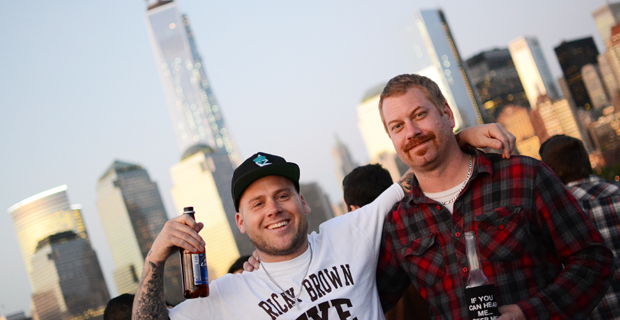 Matt & Joby from The Bronx pose in front of the Freedom Tower